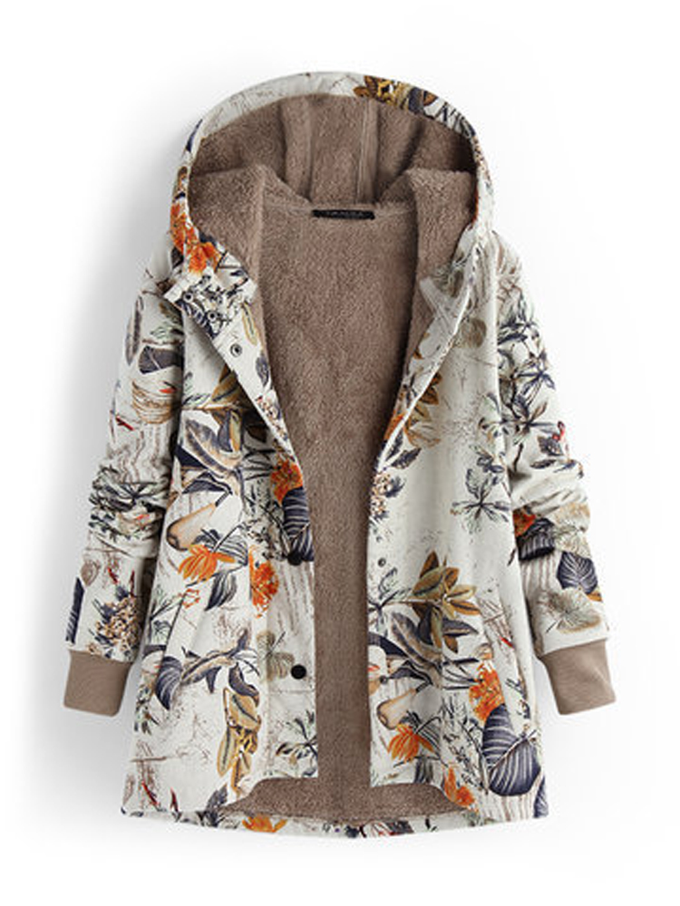 Women Floral Print Thicken Long Sleeve Hooded Vintage Coats with Pockets