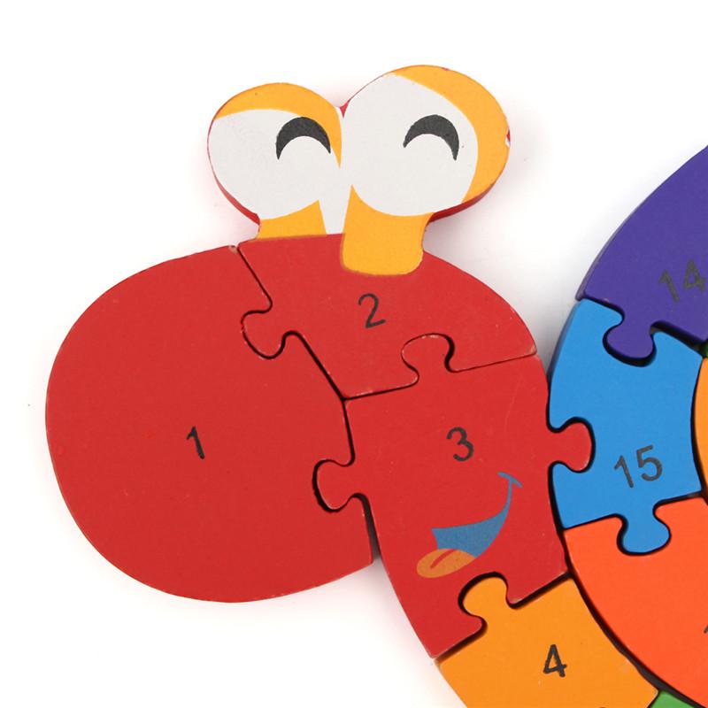 Wooden Snail Shape Puzzle Jigsaw Alphabet Number Blocks Kid Educational Toy