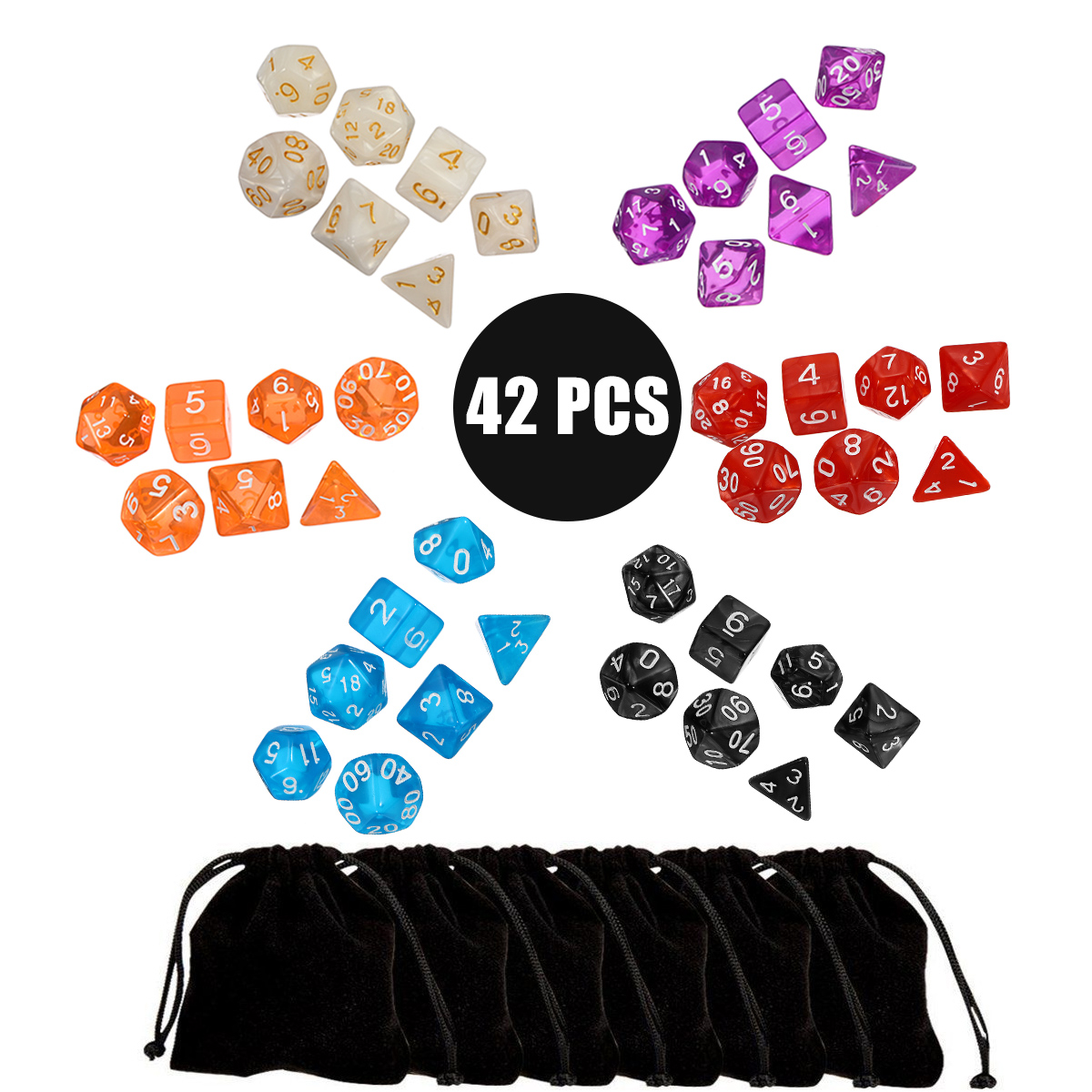 42Pcs Multi Sided Acrylic Polyhedral Dice Set 6 Colors Role Playing Game Patry Gadget with Bags