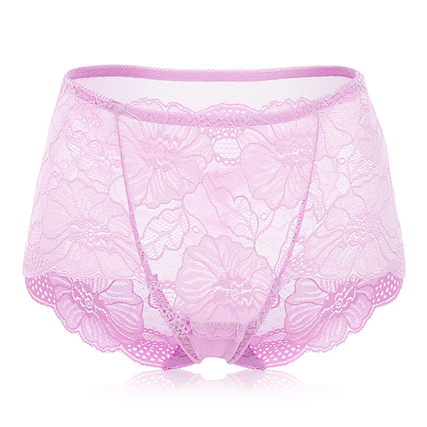 Sexy Flower Lace Embroidery Transparent Underwear