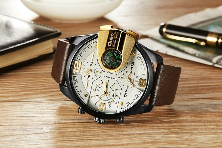 OULM 3790 Newest Casual Style Leather Band Wristwatch Analog Men Quartz Watch
