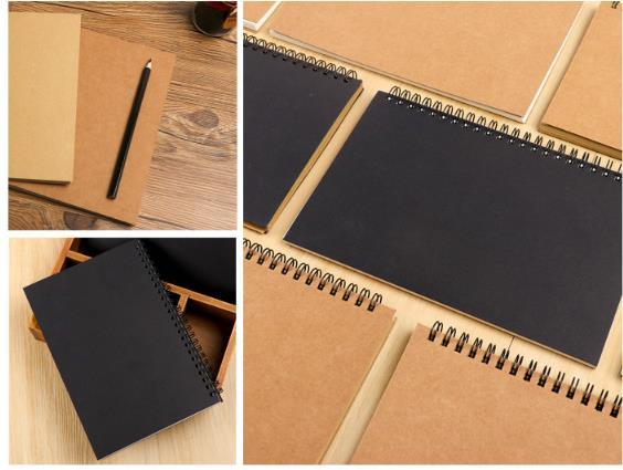 B5 DIY Vintage Kraft Paper Sketchbook Notebook For Painting Drawing Kids Stationery School Supplies