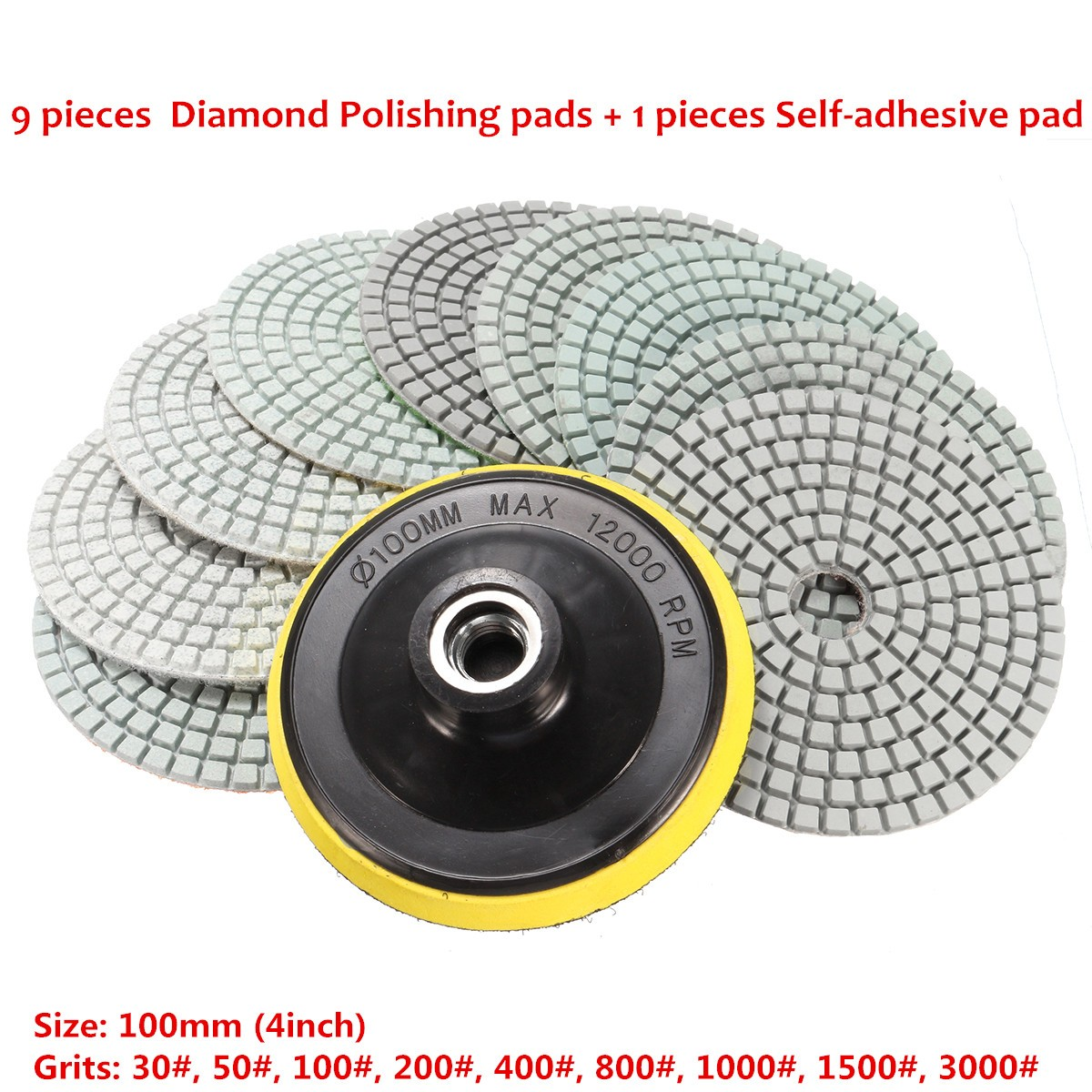 10pcs 4 Inch 30 to 3000 Grit Diamond Polishing Pads Set for Granite Concrete Marble