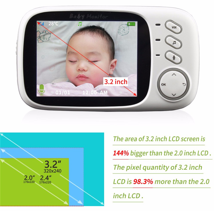3.2 inch Wireless Video Baby Monitor HD Baby Nanny Security Camera Night Vision Temperature Monitor