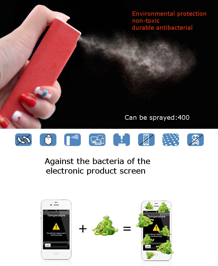 30ML Capacity Universal Portable 2 In 1 Screen Cleaner Spray With Wiping Cleans For Mobile Phone