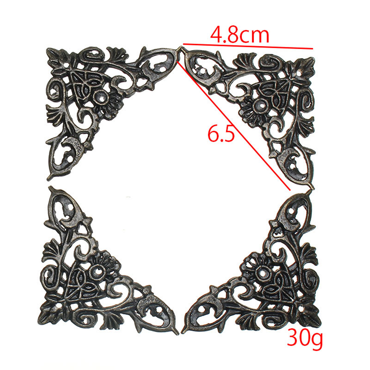 4Pcs Antique Brass Corner Protection Jewelry Gift Box Wood Case Butterfly Copper Feet Legs
