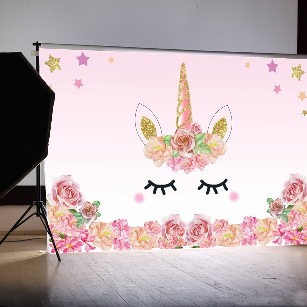 5x3FT 7x5FT Pink Unicorn Star Flower Birthday Theme Photography Backdrop Studio Prop Background