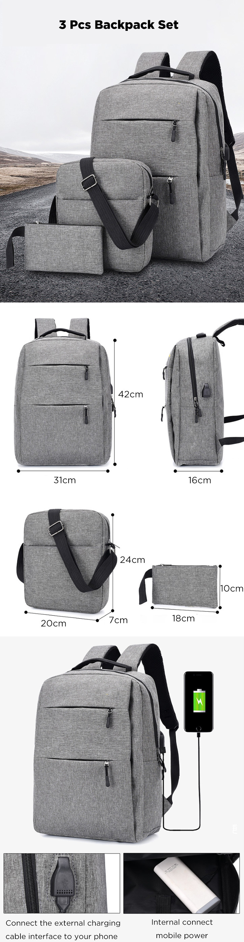 3Pcs Backpack Set 20.8L 15.6-inch USB Charging Laptop Bag Waterproof Shoulder Bag Pen Bag For Camping Travel