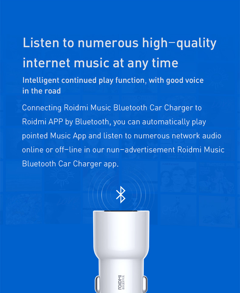 ROIDMI from Xiaomi Eco-System 3S BFQ04RM Dual USB bluetooth Music Car Charger for Mobile Phone
