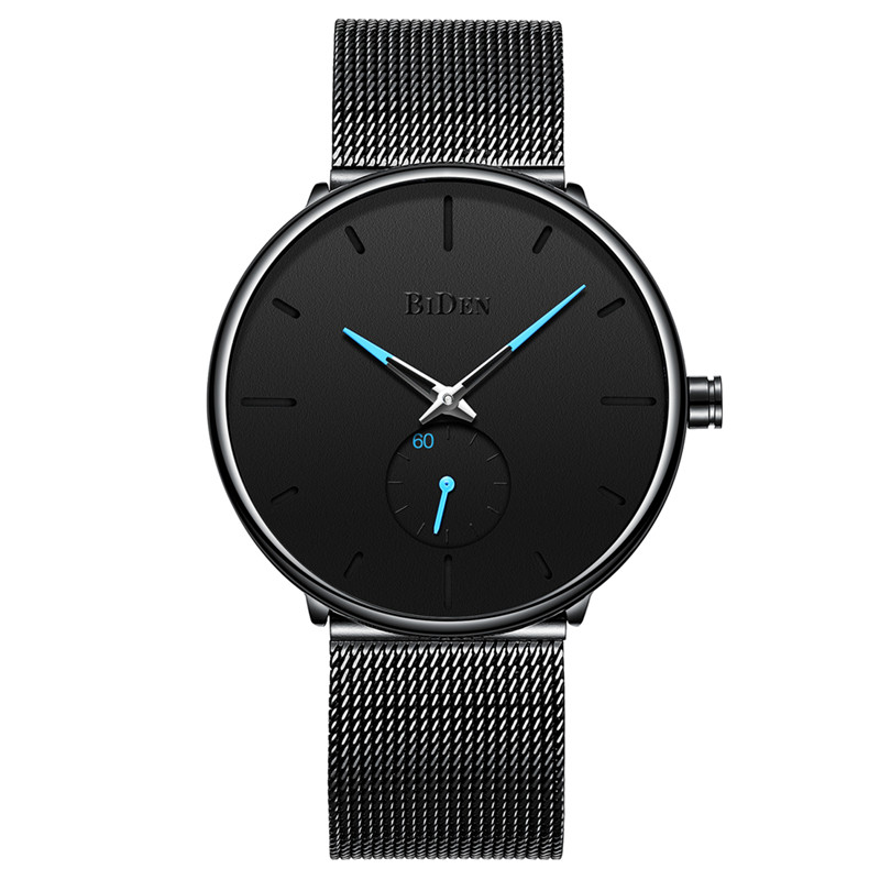 Biden 0124 Ultra Thin Casual Style Mesh Steel Men Watch