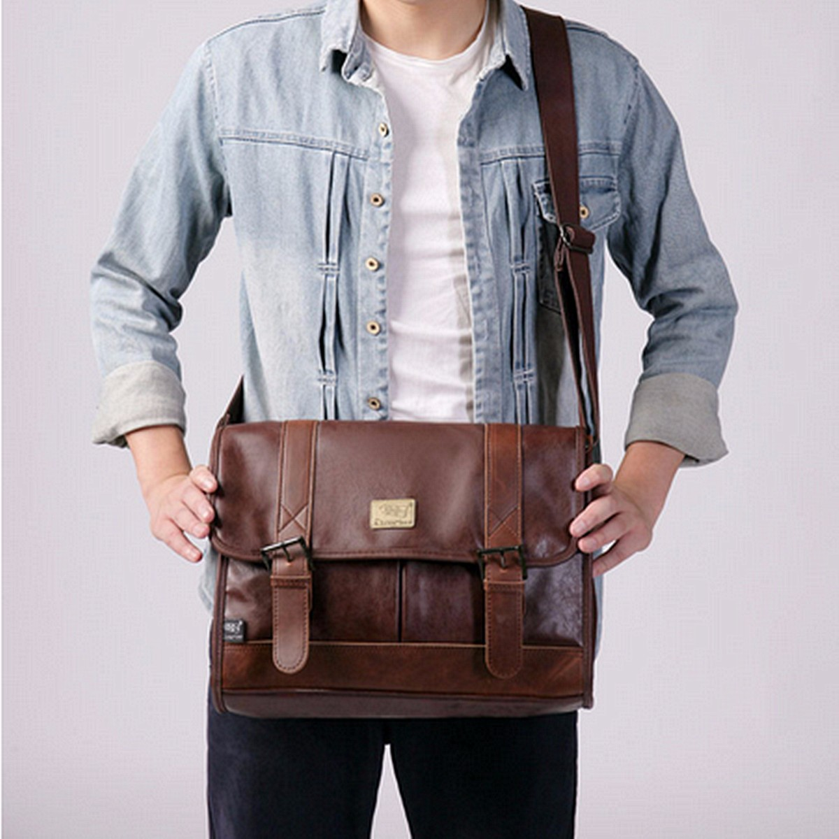 Vintage Men PU Leather Shoulder Bags Satchel Briefcase Laptop Travel Bags