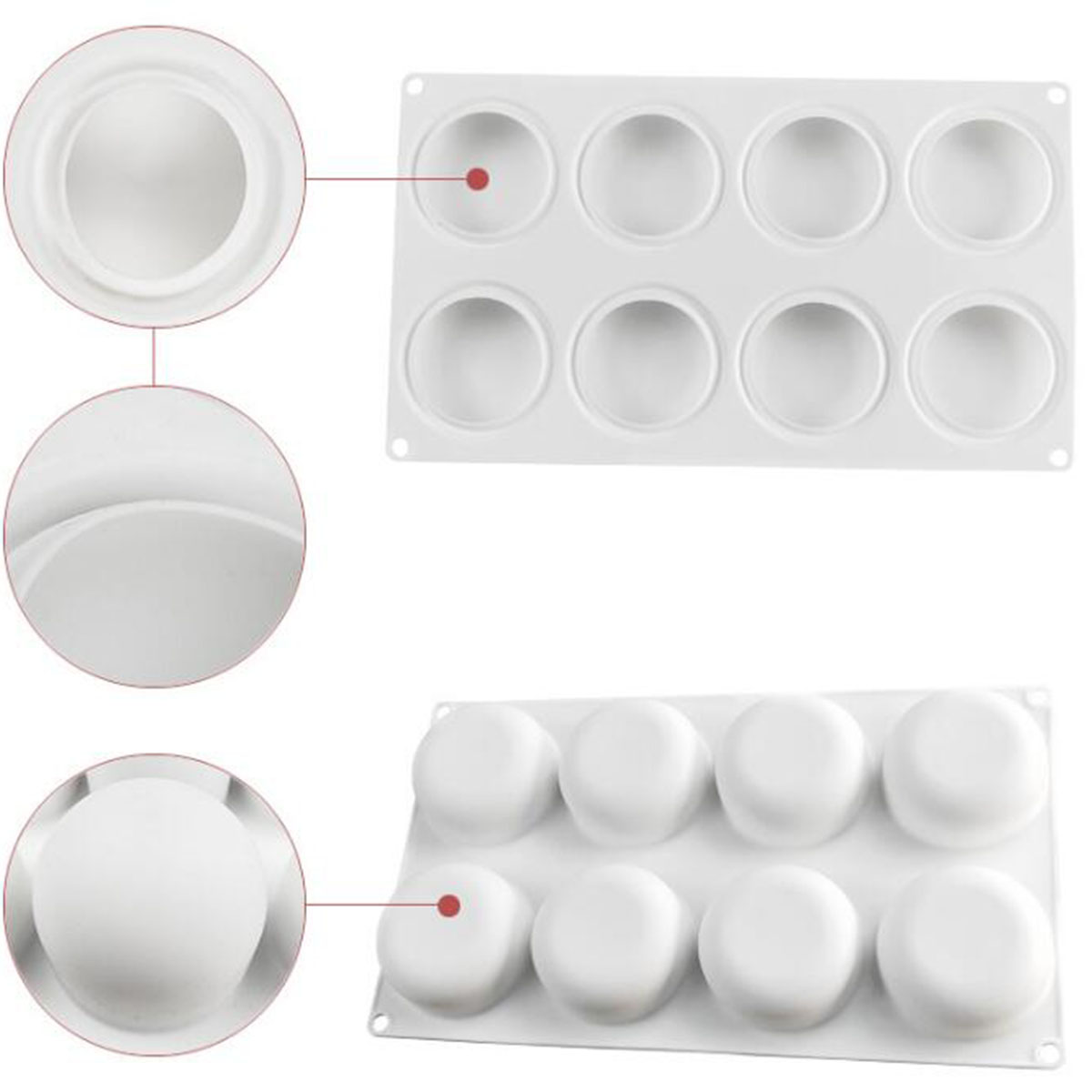 Round Silicone DIY Mousse Cake Mold 8 Cavity Candy Chocolate Baking Mould Tray