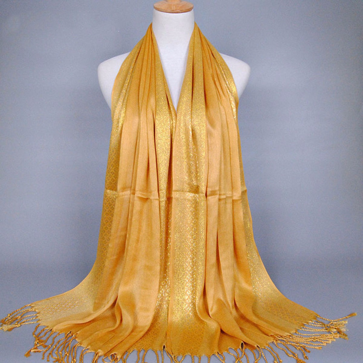 180*60CM Women Ladies Glitter Shine Cotton Blend Tassel Scarf Stole Shawl Wrap Shimmer Scarves
