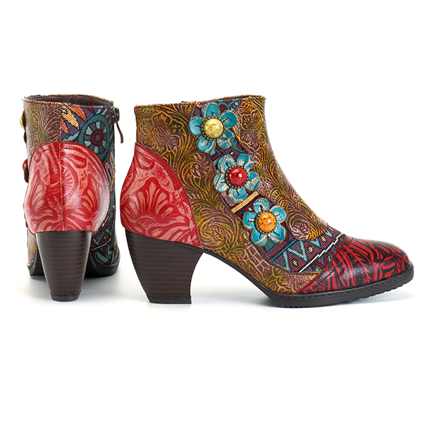 SOCOFY Shoes Women Floral Leather Boots