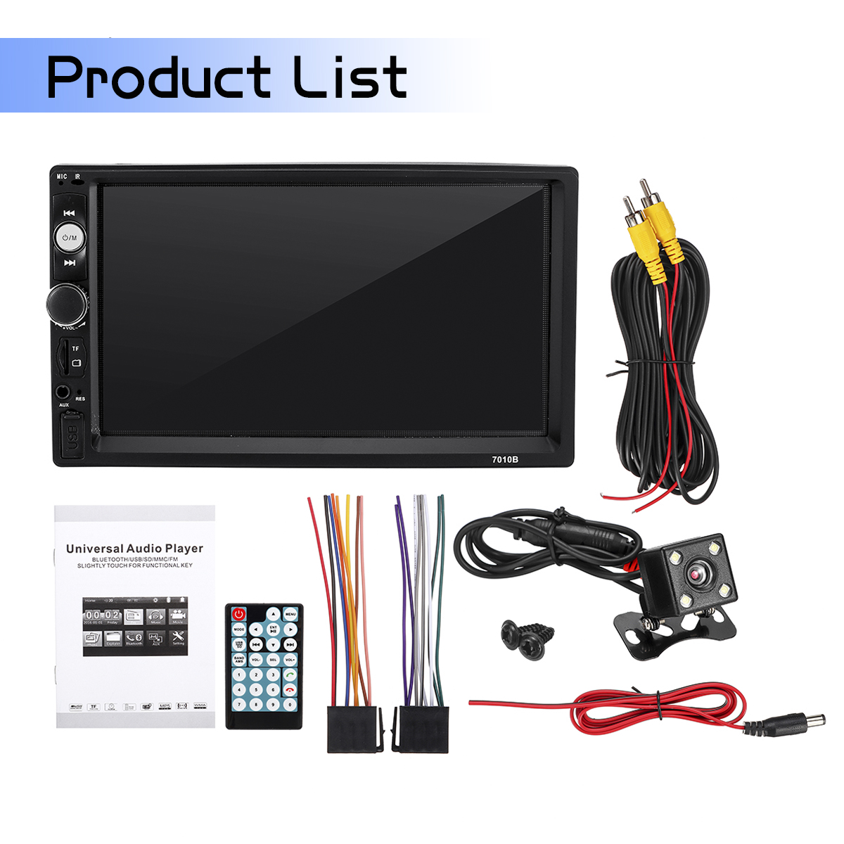7010B 7Inch 2Din Car MP5 Player IPS Touch Screen Stereo Radio MP3 FM bluetooth with Rear View Camera