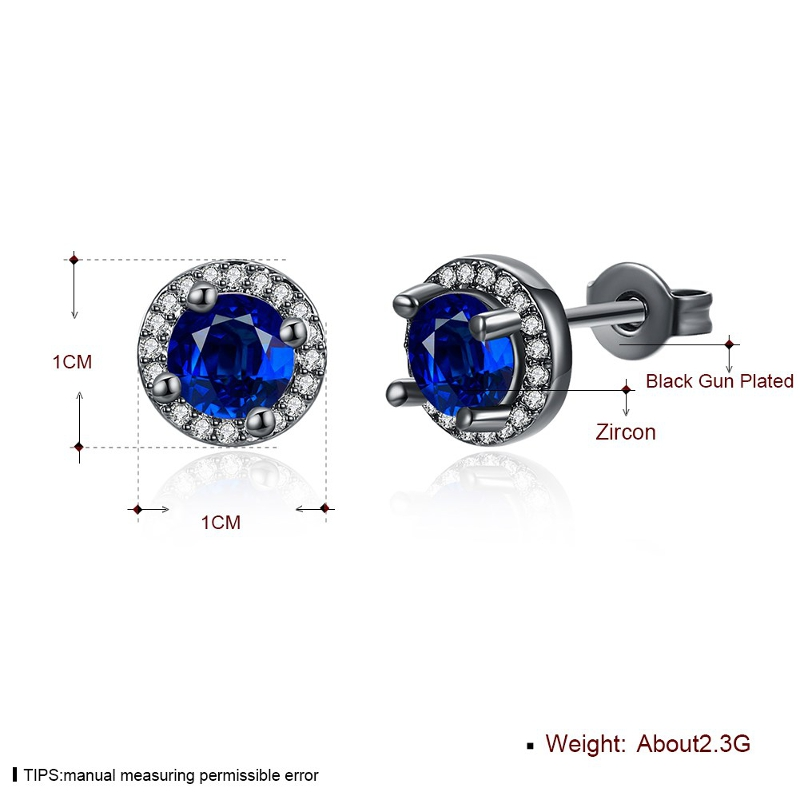 INALIS Round Diamond Ear Stud Gun Black Plated Earrings