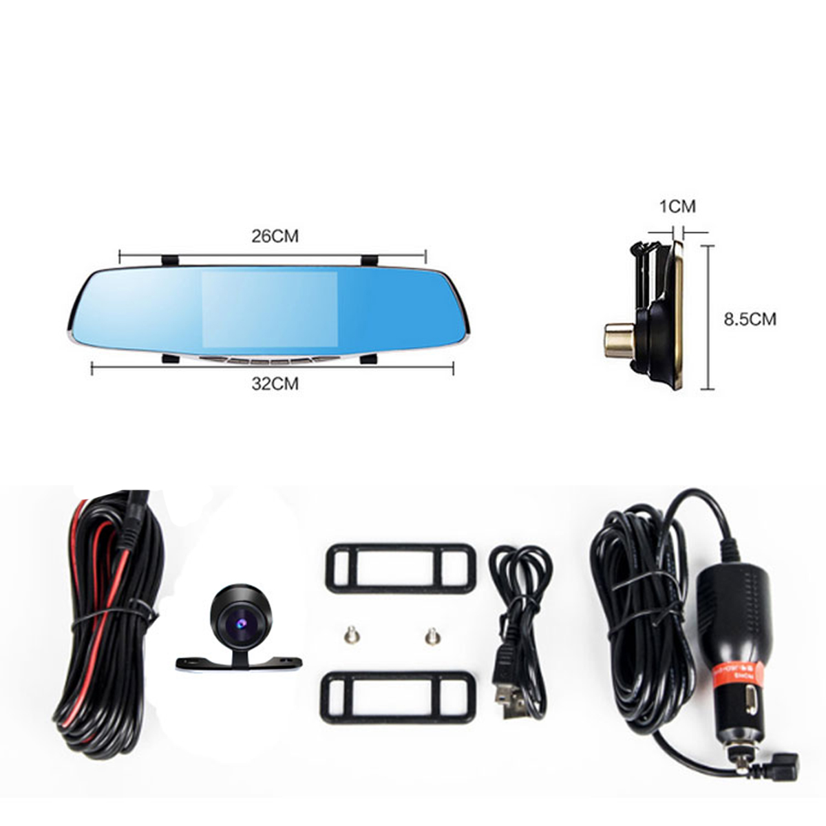 5 Inch 1080P HD Dual Lens Car DVR Dash Cam Recorder 170 Degree Rear View Camera G-sensor