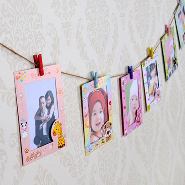 9Pcs 6 Inch DIY Wall Hanging Photo Frame Creative Children animals Cartoon Paper Pictures Film Album
