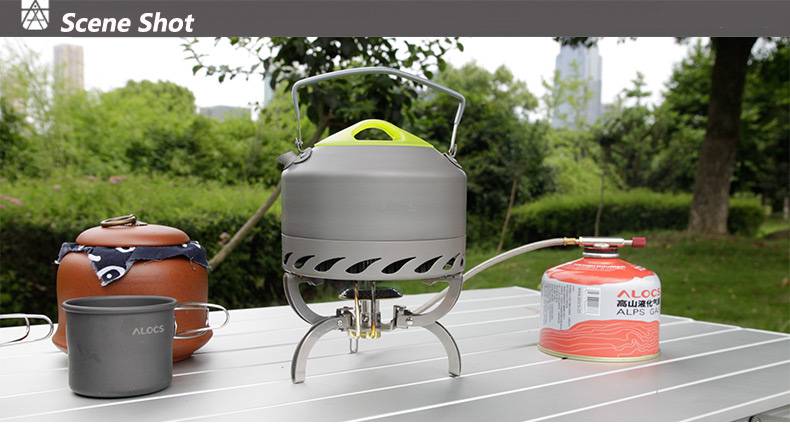 Alocs Outdoor Portable 0.9L Water Kettle Camping Hiking Teapot Picnic Boiling Kettle Travel Tea Ware