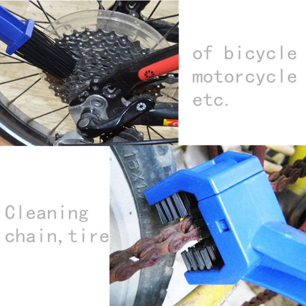 Motorcycle Bike Chain Tire Maintenance Cleaning Brush Cycle Brake Dirt Remover
