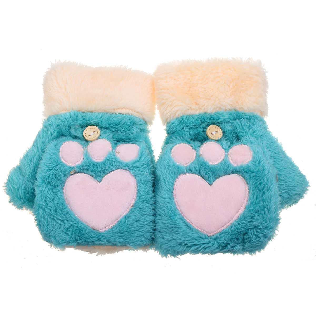 Women Female Cute Cat Claw Paw Plush Short Fingerless Gloves Half Finger Mittens