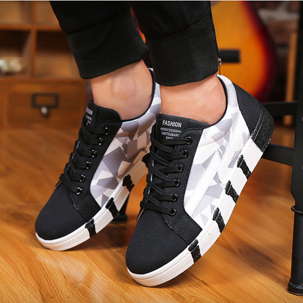 Men Sneakers Canvas Lace Up Low Top Sport Running Casual Shoes