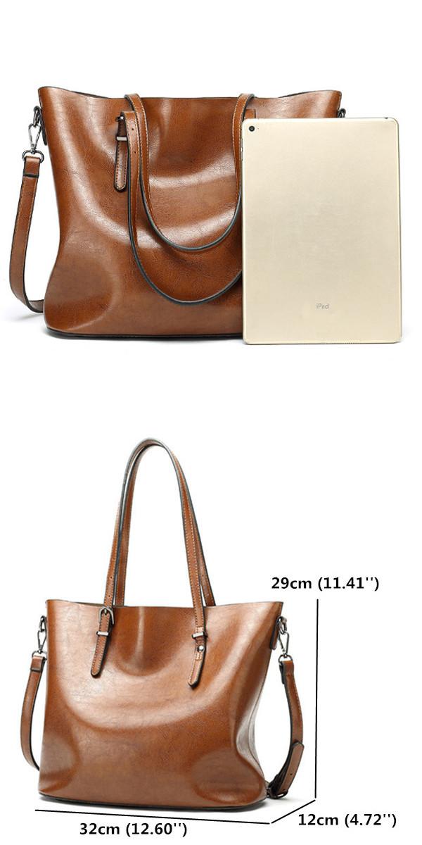 Women Oil Leather Tote Handbag Vintage Shoulder Bag