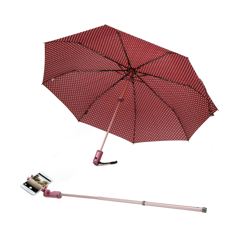 Compact Travel Umbrella with Selfie Stick Windproof UV Protection Folding Umbrella for Sun&Rain Deta
