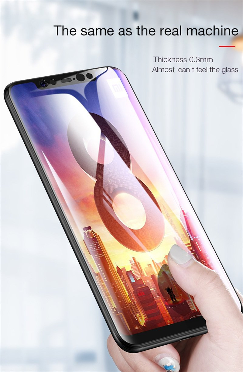Cafele 4D Curved Edge Full Cover 9H Anti-explosion Tempered Glass Screen Protector for Xiaomi 8 Mi 8