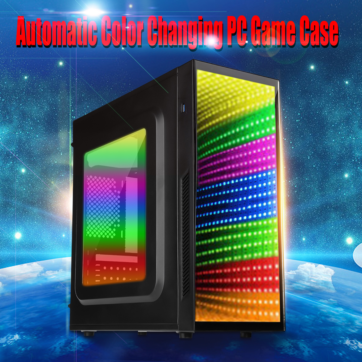 Side Transparent RGB Gaming Computer ATX PC Case Micro ATX ATX PC Case Automaticly Color Exchanged