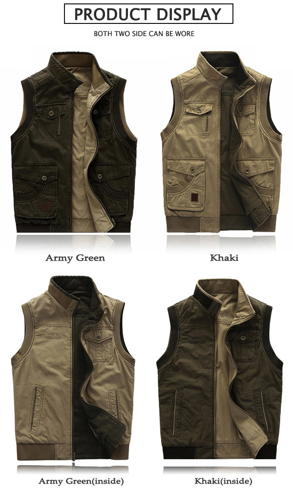 Mens Big Size Casual Outdoor Washed Double Sided Wear Vest