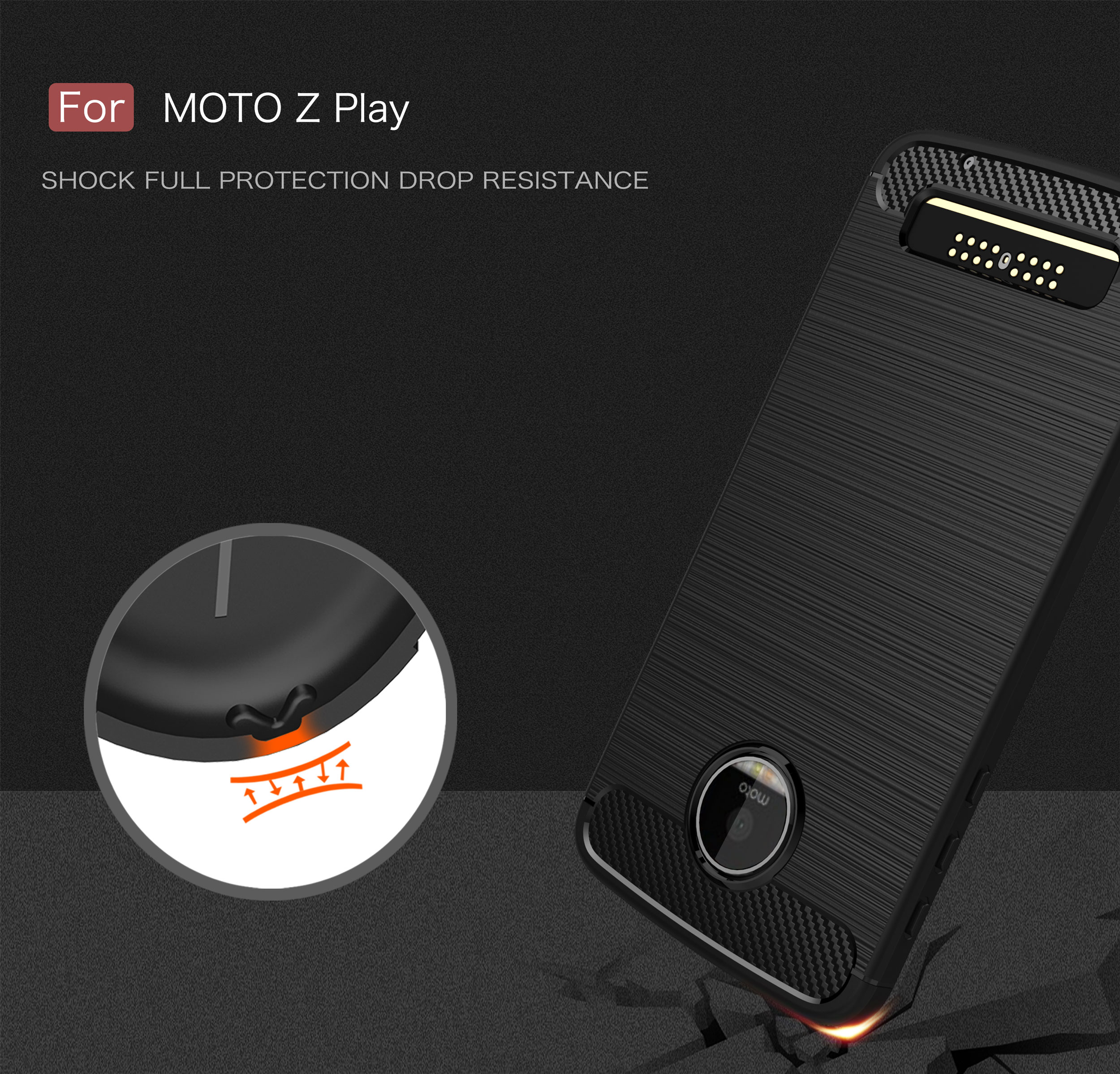 Simple Carbon Fiber Soft Silicone Back Cover Case For MOTO Z PLAY