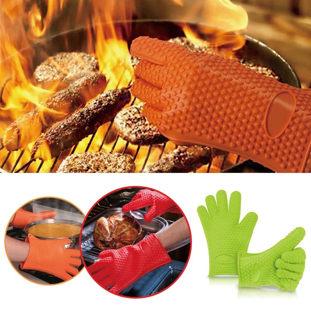Silicone Oven Heat Resistant Glove Outdoor BBQ Grill Pi