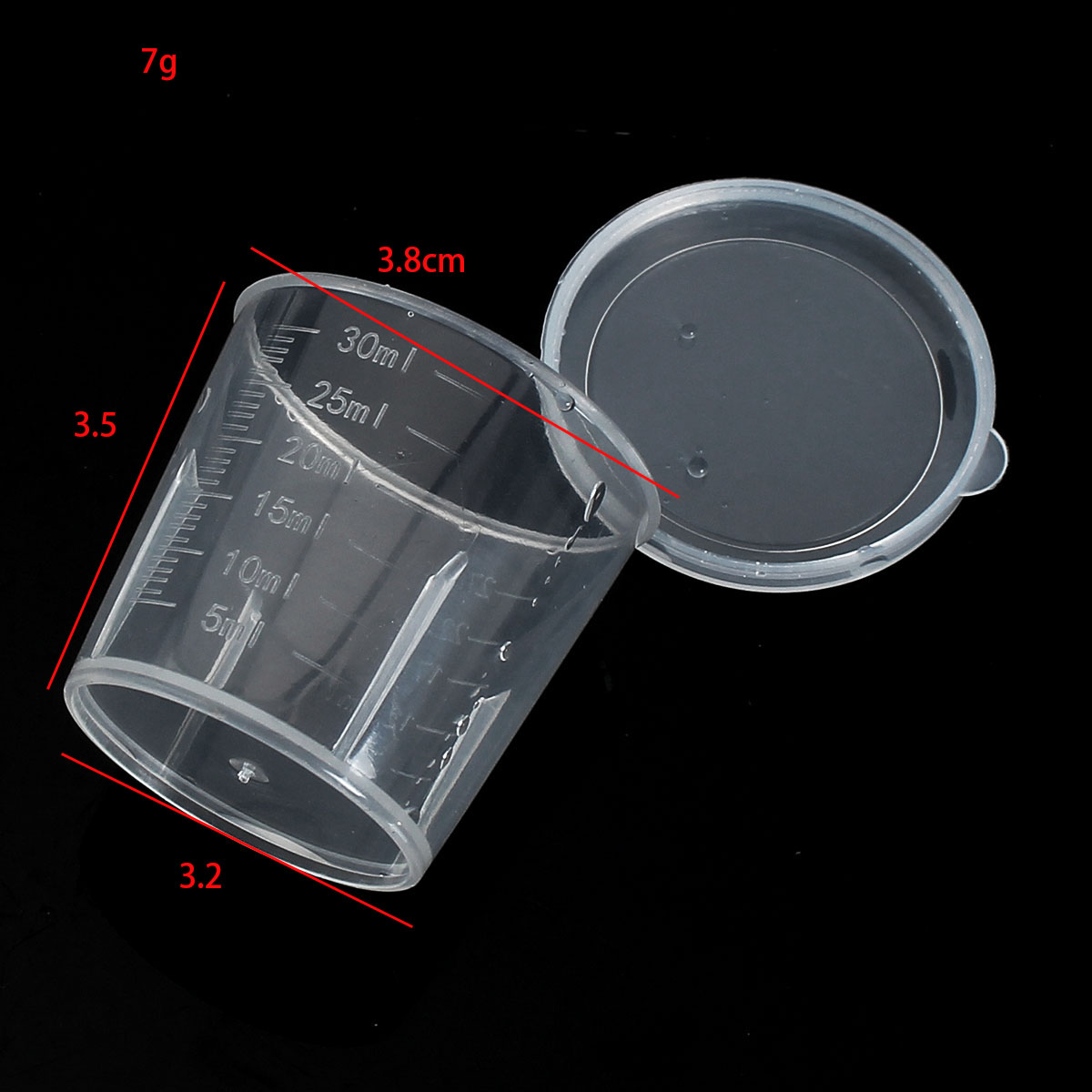 30ml Plastic Graduated Measuring Cylinder Container Tube Cups for Laboratory Lab
