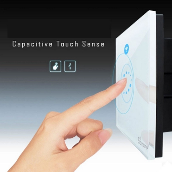 SONOFF® Touch AC90 To 250V 400W WIFI Switch Module Luxury Glass Panel Wireless Timing Switch Remote Control Via APP For Smart Home US/EU