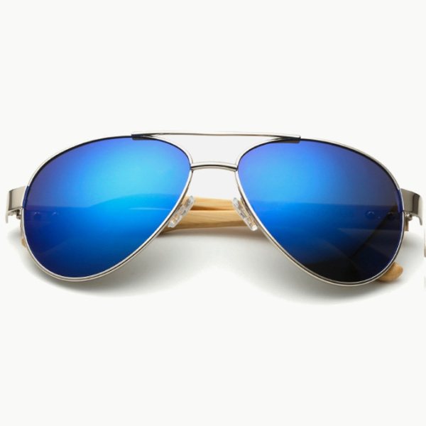 UV400 Bamboo Legs Sunglasses Unisex Outdoor Sport Glasses Big Metal Frame Goggle Cycling Driving