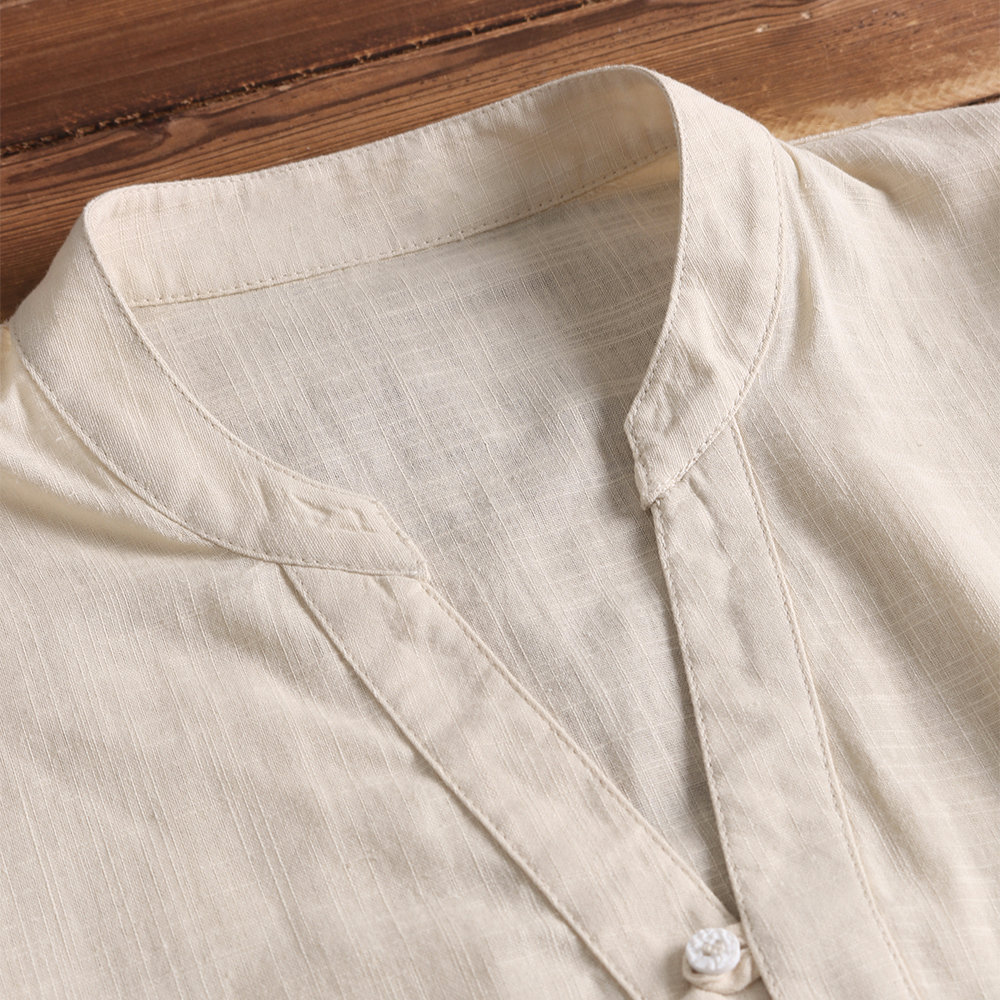 TWO-SIDED Mens V-neck Solid Color Short Sleeve Cotton Shirts
