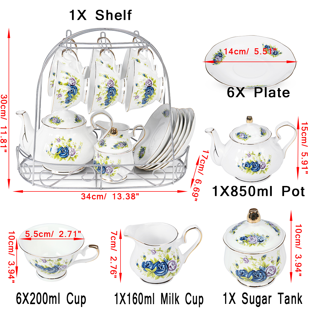 15pcs Fine Bone China Pottery Porcelain Elegant Coffee Tea Pot Cup Set Gifts