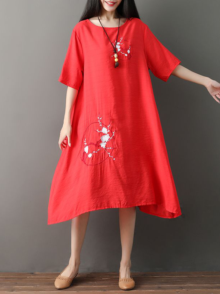 Vintage Women Loose Cotton Linen Embroidered Dress