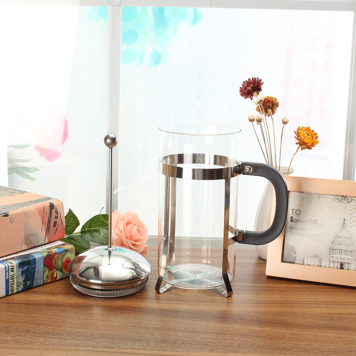 1000ml Home Glass & Stainless Steel Cafetiere Coffee Maker Machine Press Filter