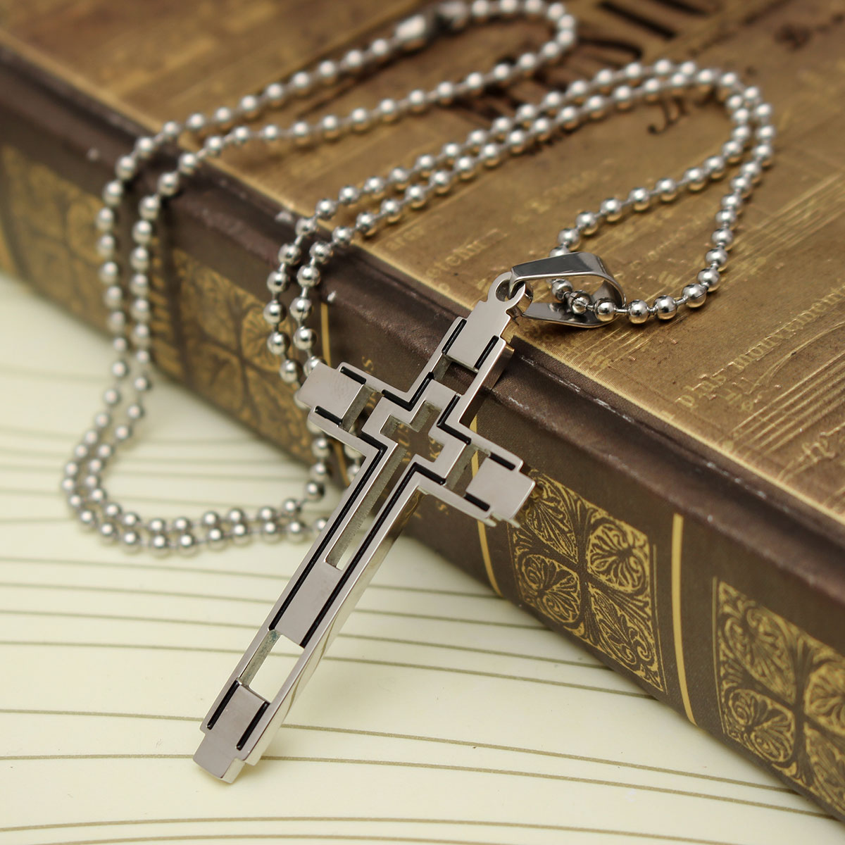 Silver Cross Pendant Chain Unisex Charm Stainless Steel Necklace