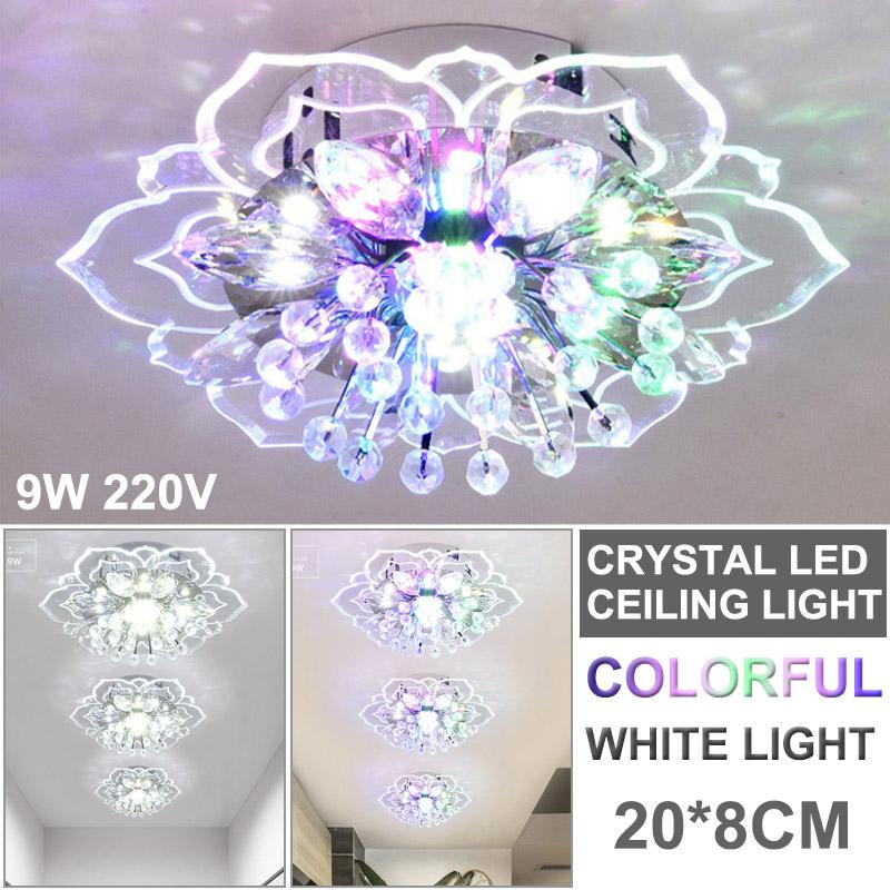 Moderne Kristall LED Deckenleuchte Pendelleuchte Beleuchtung Kronleuchter 9W Neu