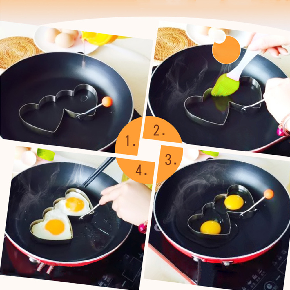 KCASA KC-ER096 Stainless Steel Heart Shape Fried Egg Mold Pan Cake Omelette Ring Kitchen Tools