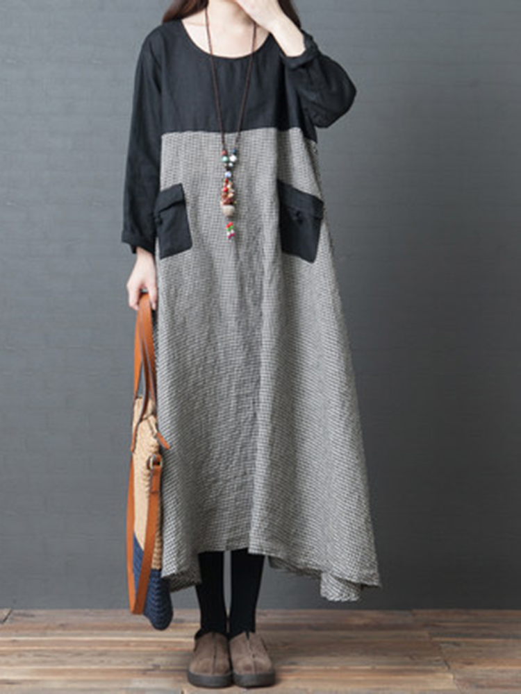 Retro Women Cotton Linen Plaid Patchwork Long Sleeve Dress