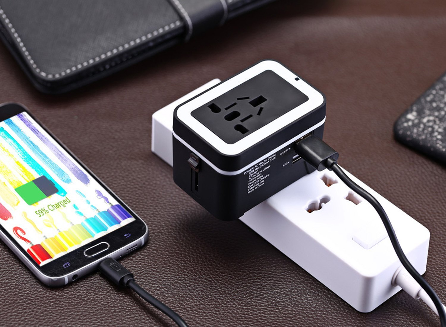 Universal All-in-one International Power EU US AU UK Plug Charger with Dual 2.4A USB
