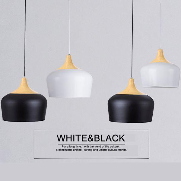 E27 30CM Simple Modern LED Ceiling Light Wood Metal Pendant Lamp Black/White AC110-256V