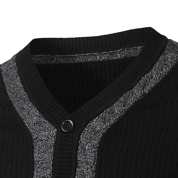 Fashion Mens Casual Sweaters Pullovers Black Knitted V-Neck Buttons Slim Fit Subcoating