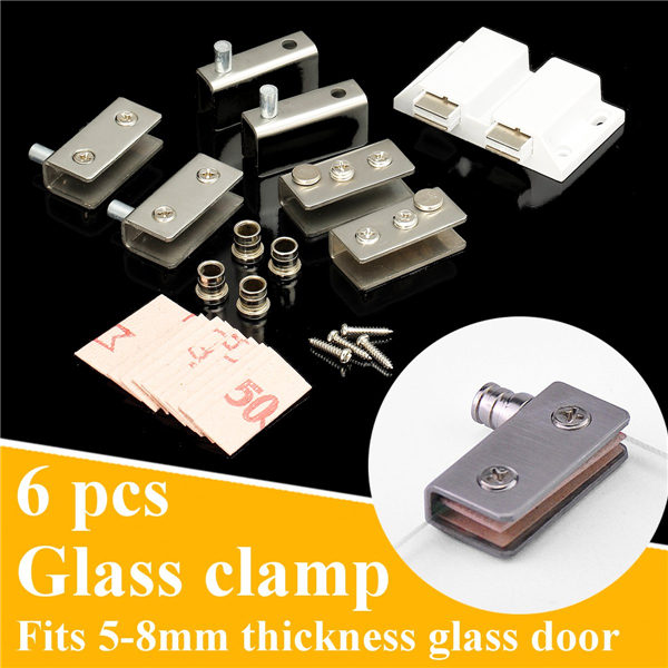 6Pcs Stainless Steel Clamp Pivot Hinge Set For 5-8mm Glass Door