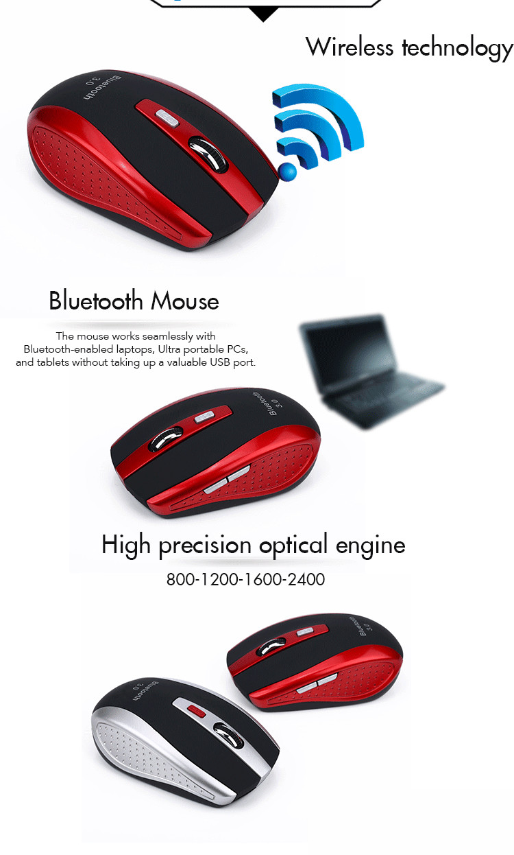 2400DPI Adjustable 6 Buttons Wireless bluetooth 3.0 Smart Gaming Mouse for Laptop