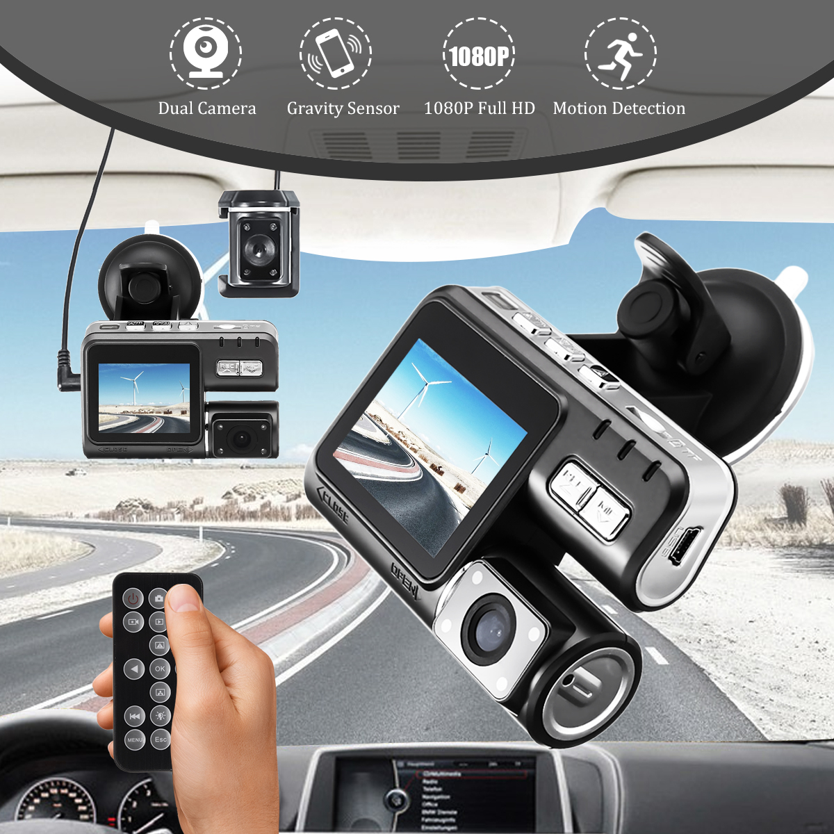 Dual Lens Car DVR 2 Inch LCD Camera I1000 1080P Dash Cam Night Vision Video Recorder